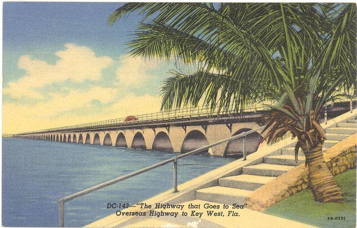 Vintage Florida Postcard  Miami  Keys  Overseas Highway