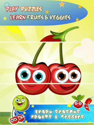A game where kids learn fruits and vegetables while playing puzzles - fun game for prechooler and toddlers #kidsapps