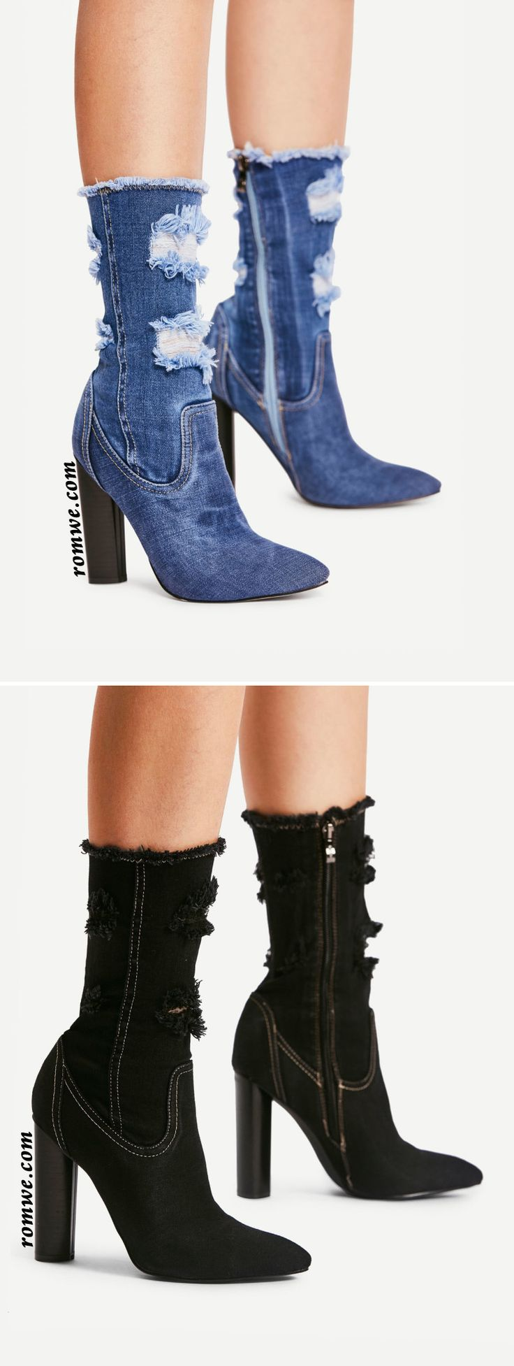 Distressed Top Denim Ankle Boots