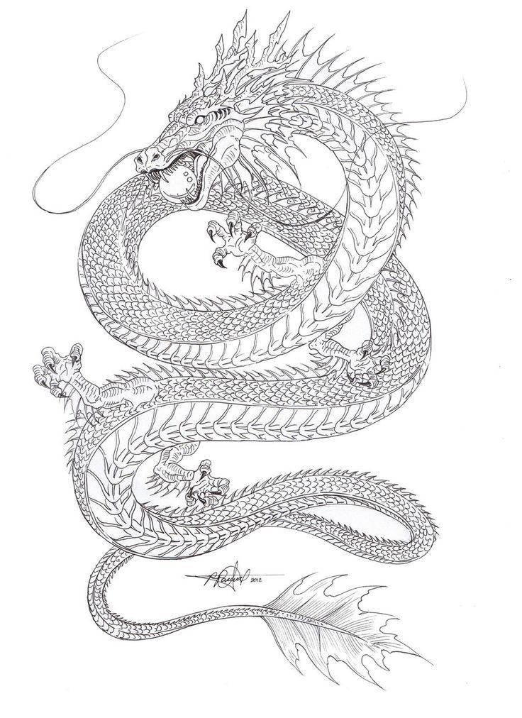 Kind of liking the shape... Water Dragon outline by artstain.deviantart.com on @deviantART