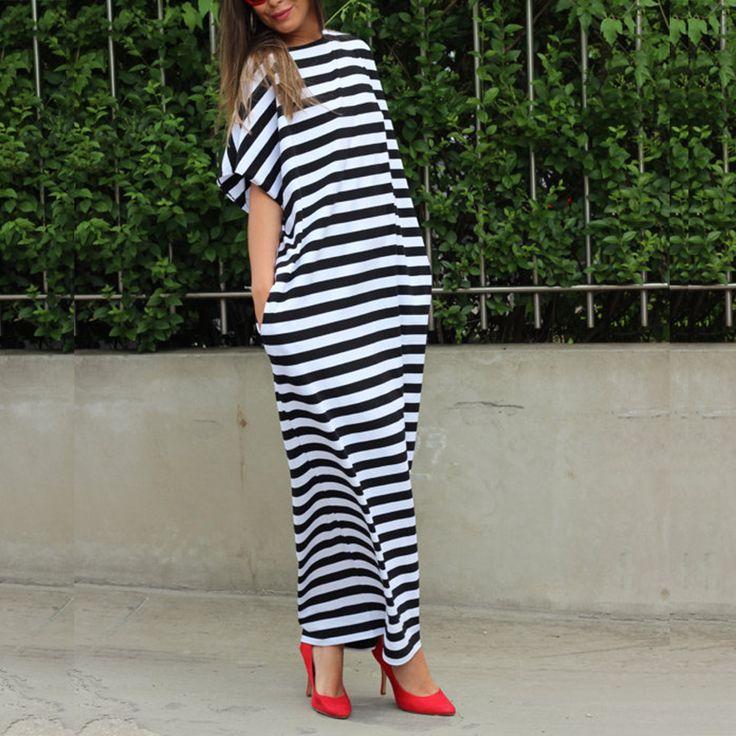 Preself New Vintage Sexy Femmes Ras Du Cou à Rayures Oversize D'été Abaya Partie Maxi Longue Chemise Robe Plus dans Robes de Femmes de Vêtements et Accessoires sur AliExpress.com | Alibaba Group
