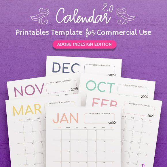 10 Gorgeous Ready To Print Calendar Templates For 2020 Indesign Templates Printable Calendar Design Calendar Design