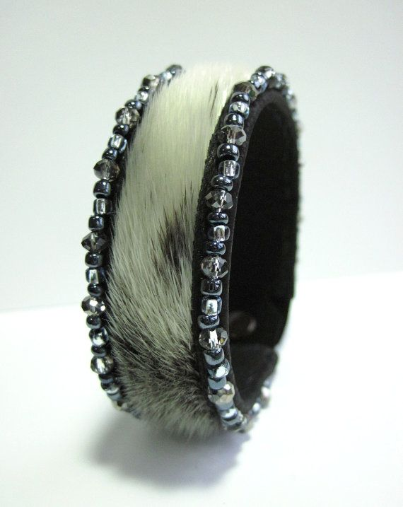 Real fur Seal Cuff Bracelet with Crystals by CRubyDesigns on Etsy, $175.00