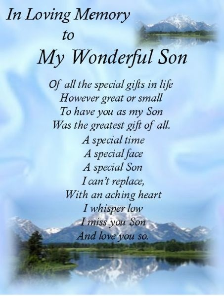 SON My Son Bereavement Card Memorial Grave Keepsake