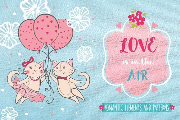 Romantic set with cats and flowers by romawka on @creativemarket
