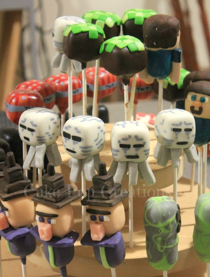 Minecraft Cake Pops. Creeper, Steve, Witch, Blast etc