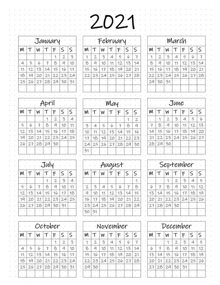 FREE Printable Bullet Journal Year at a Glance Calendar in ...