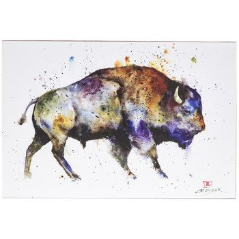 Watercolor Buffalo Canvas Plaque