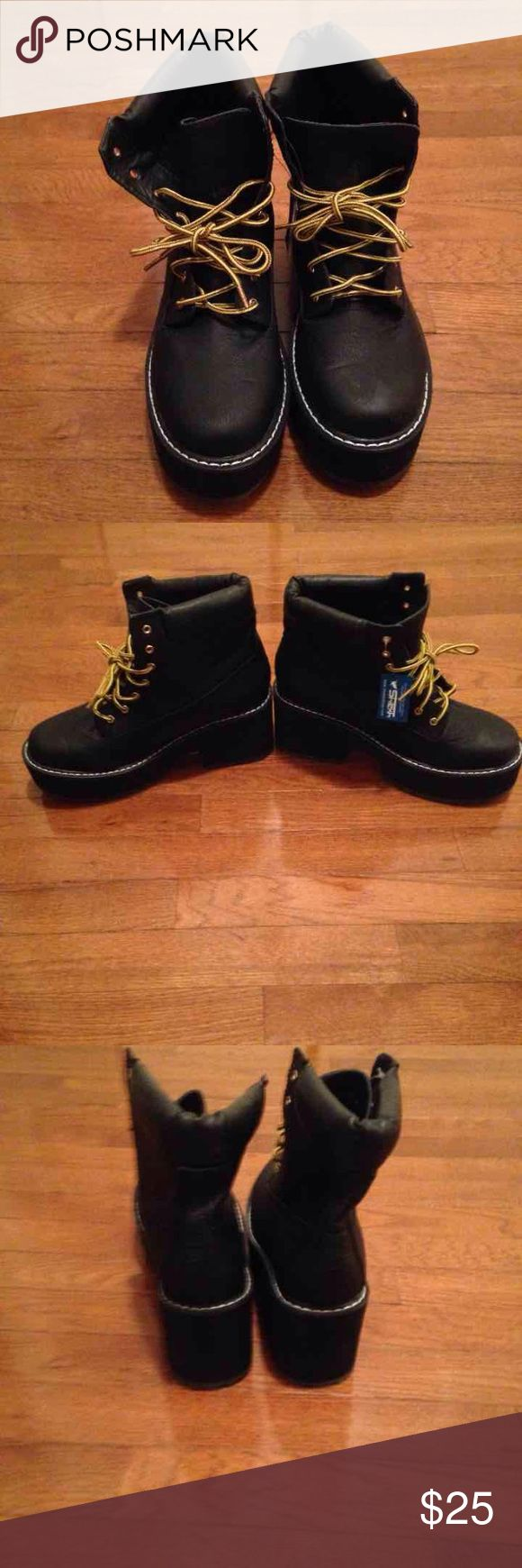 Platform Chelsea Boots Brand new w/ tags from Shiekh Shoes never worn. Laces are yellow and brown and the the shoes itself are black. Platform boots shiekh Shoes Lace Up Boots