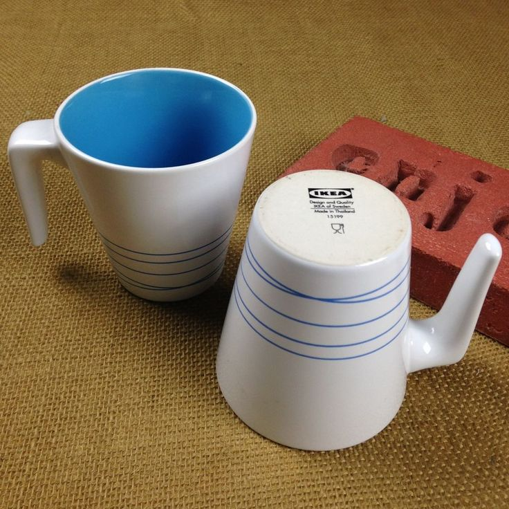 IKEA Hurrig White Blue Coffee Mug L Stick Handle Cocoa Tea Set of 2 Cups 15199 #IKEA