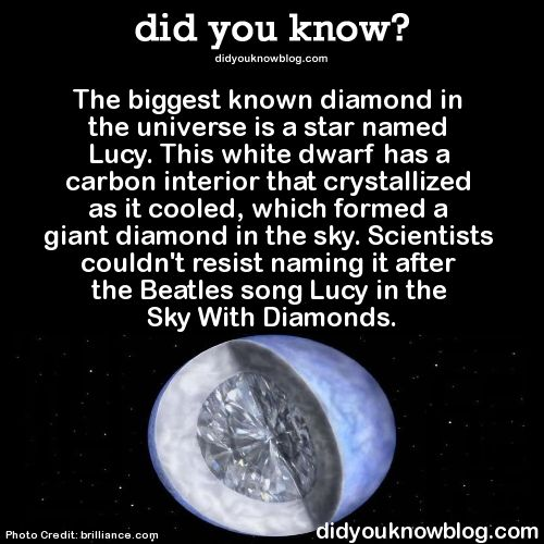did-you-kno:  The biggest known diamond in the universe is a star named Lucy. This white dwarf has a carbon interior that crystallized as it cooled, which formed a giant diamond in the sky. Scientists couldn't resist naming it after the Beatles song Lucy in the Sky With Diamonds.  Source