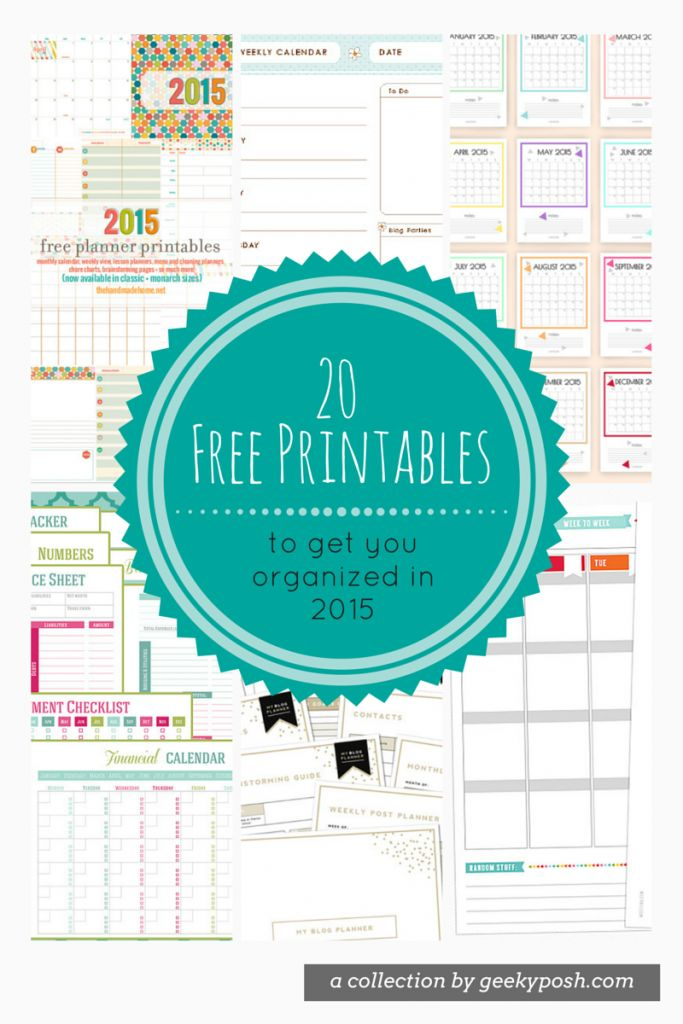 20 free planner printables for 2015 // Geeky Posh