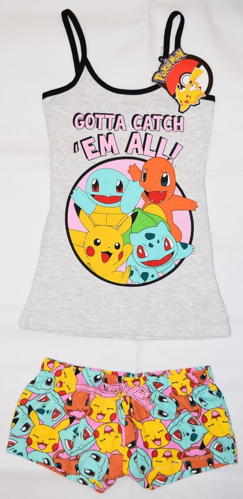 PRIMARK Pokemon Vest & Shorts Set PJ Pikachu PYJAMAS UK Sizes 4 - 20 NEW