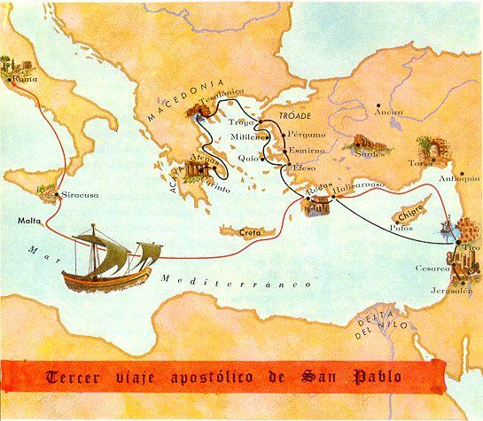 Mapas biblicos del antiguo y nuevo testamento mapa for Cuarto viaje de pablo