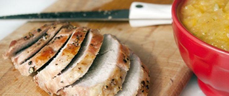 Запеченная свиная вырезка с соусом сальса