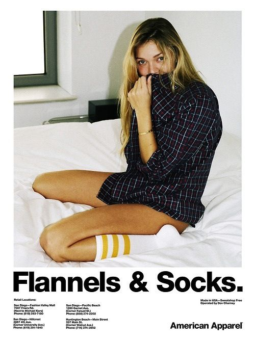 My life in a picture... American Apparel knee highs and flannel shirts