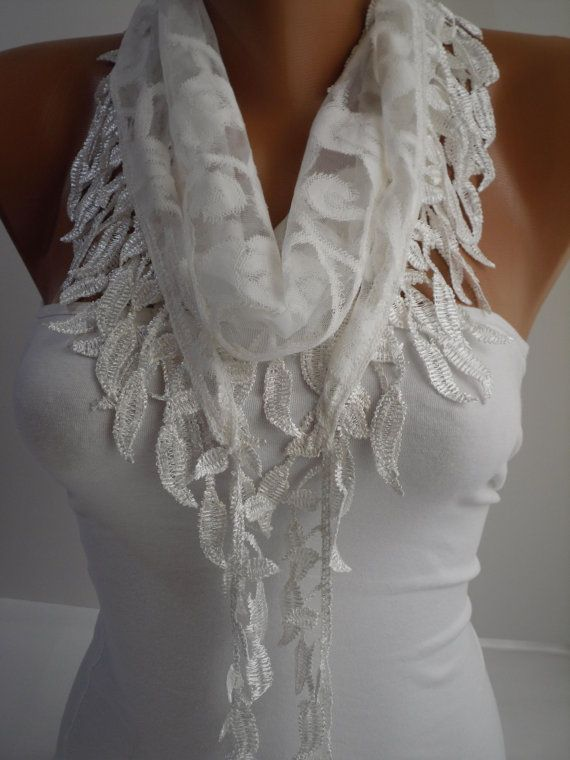White Lace Scarf Shawl Headband  Cowl with Lace Edge by DIDUCI, $16.00