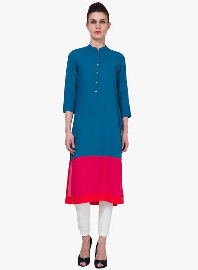 Buy Vishudh Blue Solid Kurta for Women Online India, Best Prices, Reviews | VI171WA36OJBINDFAS