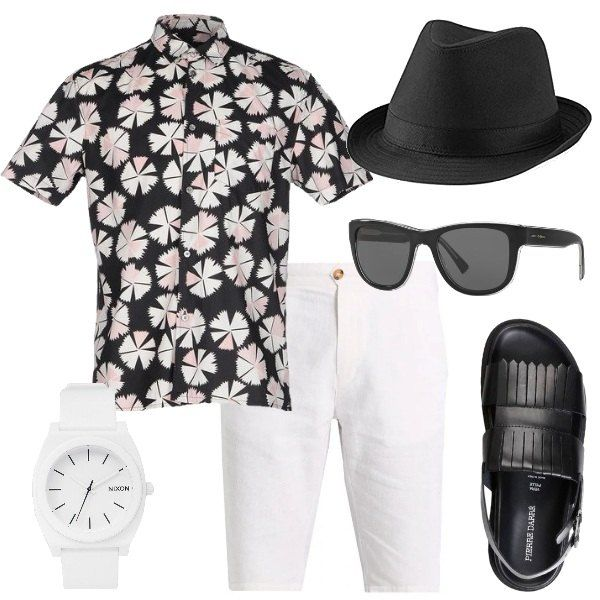 100% cotone per la camicia fantasia Marc Jacobs, lino e cotone per i pantaloni corti bianchi. I sandali con la fibbia hanno punta tonda, interno in pelle e suola di gomma. Gli occhiali da sole Dolce & Gabbana e il cappello sono neri, mentre di colore bianco è l'orologio Nixon con cinturino in gomma.