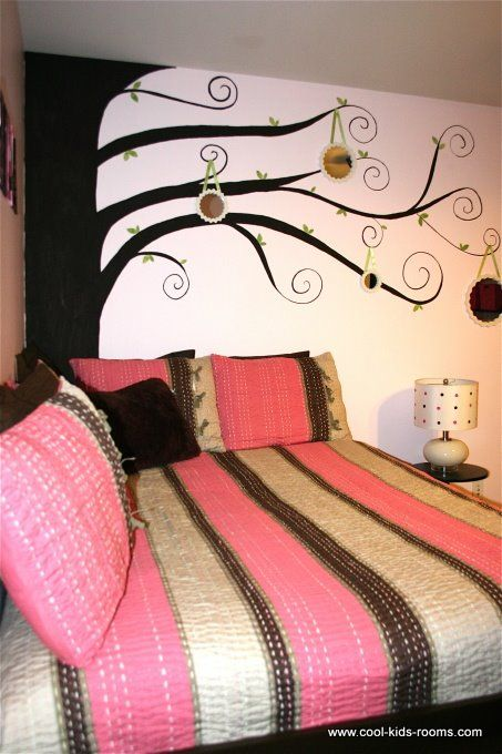 Pink and Brown Teen Girl Bedroom Decorating, Cynthia  Theo McBride,  bedroom decorating ideas for girls, bedrooms, boys bedrooms ideas, bedroom decor ideas, kids rooms, childrens rooms, girls bedroom, decorating kids rooms, girls bedrooms decor, teen girls room    Maya this is cool. I'm going to look at some removable wall art pictures, maybe we can do something like this for your room.