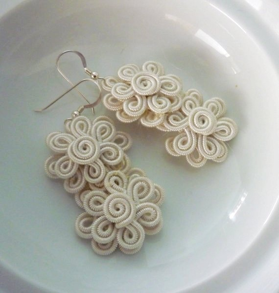 Moroccan soutache flower earrings, handmade, cream art silk