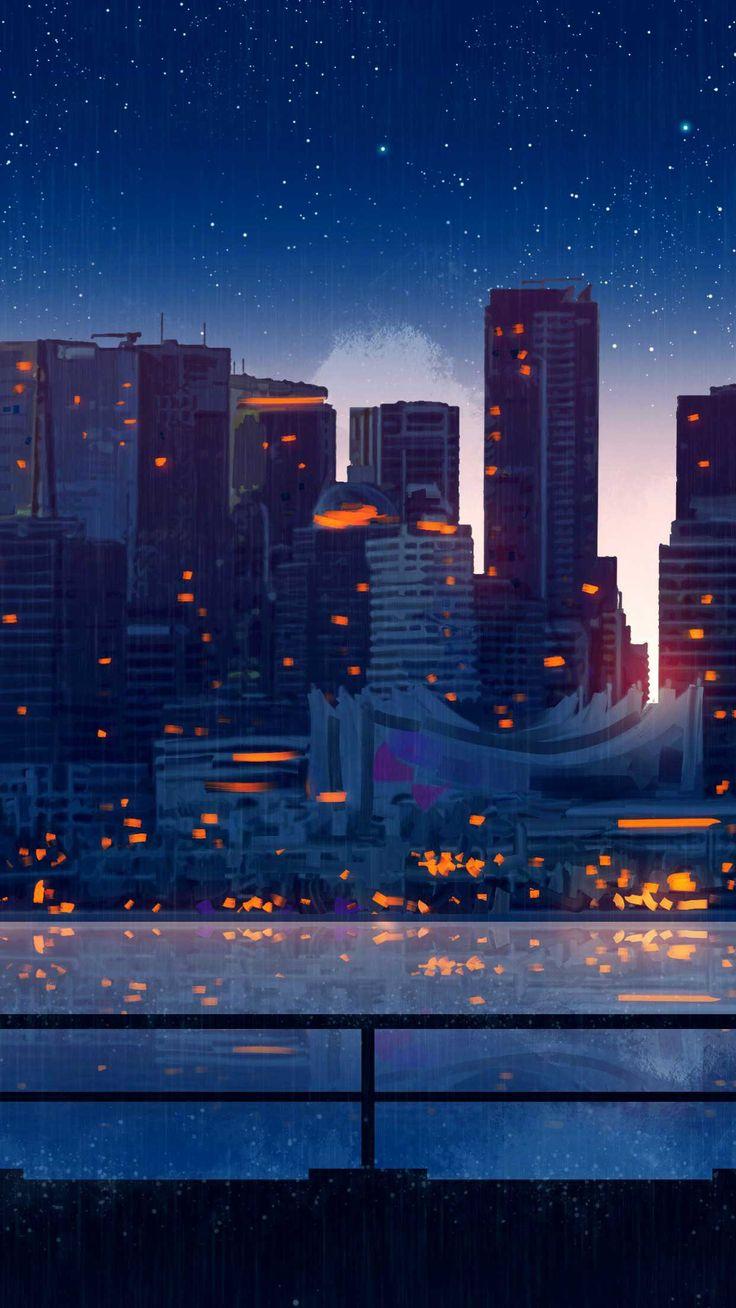 Anime city lights night rain umbrella sky k ou iphone