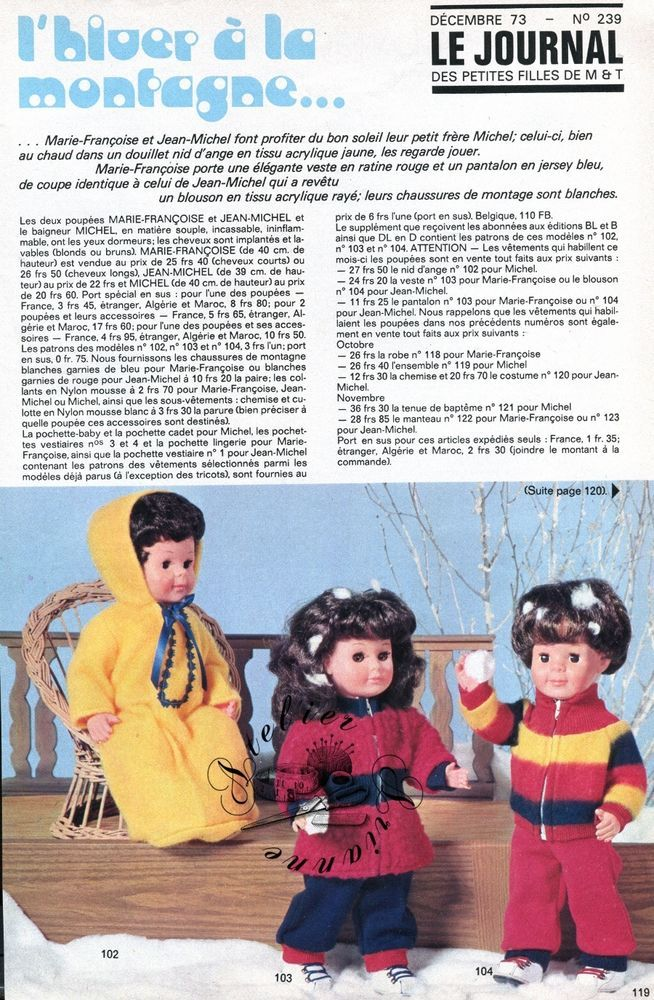 Page Poupée Modes et Travaux , Décembre 1973 Marie Françoise , Jean Michel