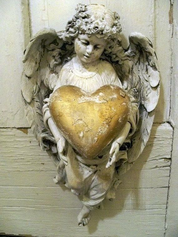 Shabby Chic Angel Figurine Wall Decor Holding Golden Heart Ooak Anita Spero  ٠