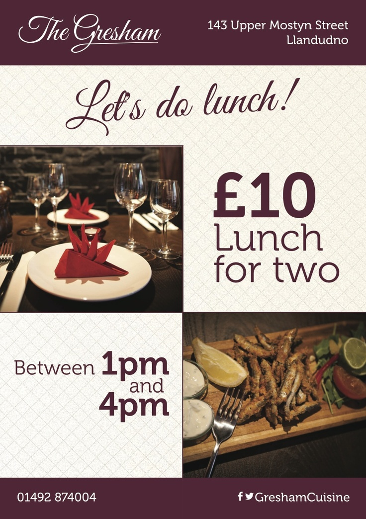 Special offer flyer for the Gresham, designed to help boost lunch time sales.