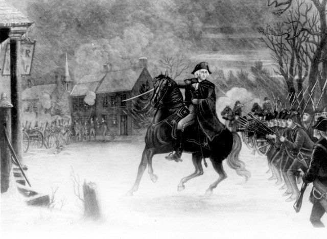 George Washington at the Battle of Trenton engraving by the Illman Brothers in 1870