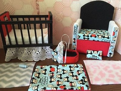 Barbie Baby Nursery Set Furniture Crib Bottle Sofa Carrier Tsum