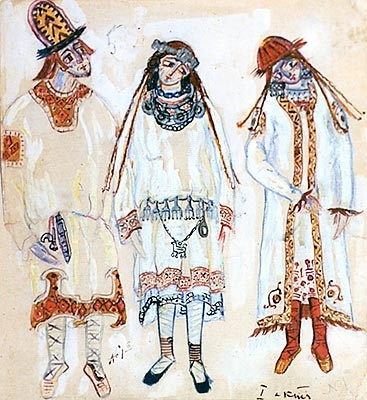 """Nicholas Roerich. Three Figures (A Youth and Maidens). Costume design for Stravinsky's ballet """"Le Sacre du Printemps"""" (Act I)"""