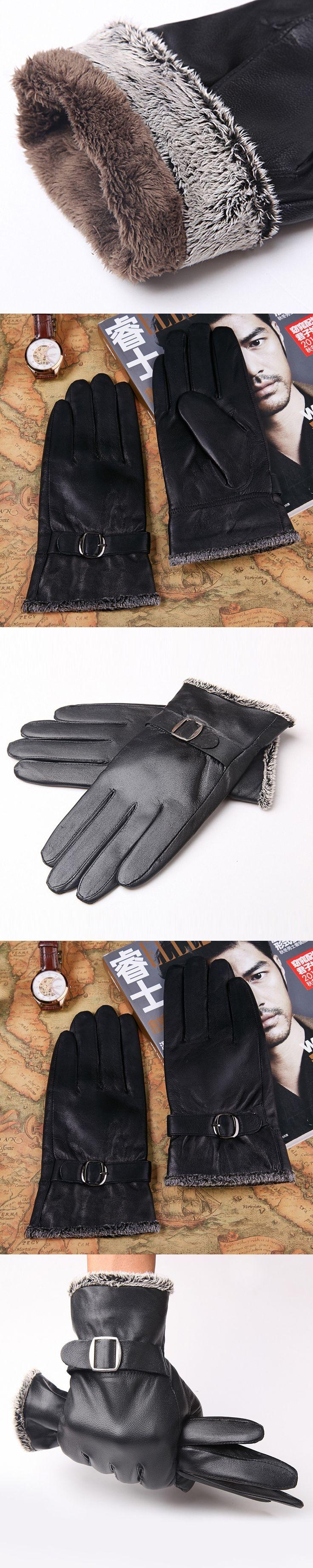 New Designer Men Gloves Drive 100% Genuine Leather Sheepskin Mittens Warm Winter Gloves for Fashion Male Glove Luvas B-5942