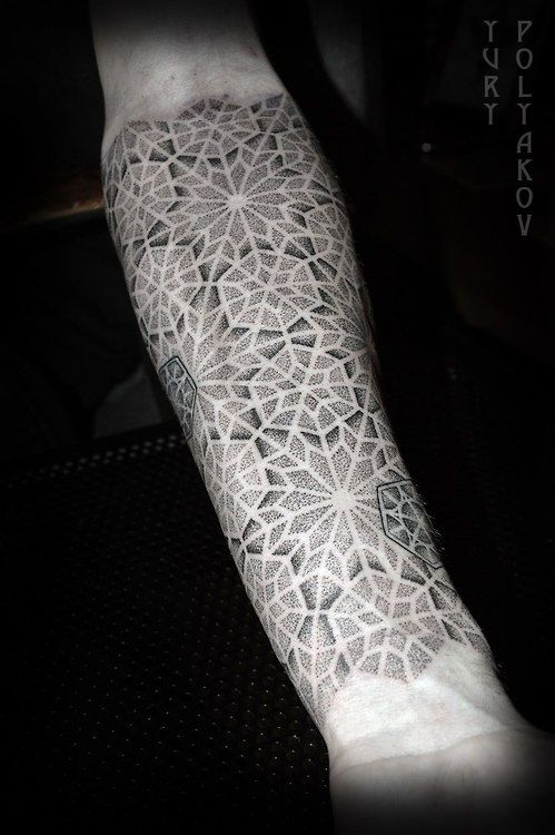 Geometric dotwork sleeve tattoo by Yury Polyakov