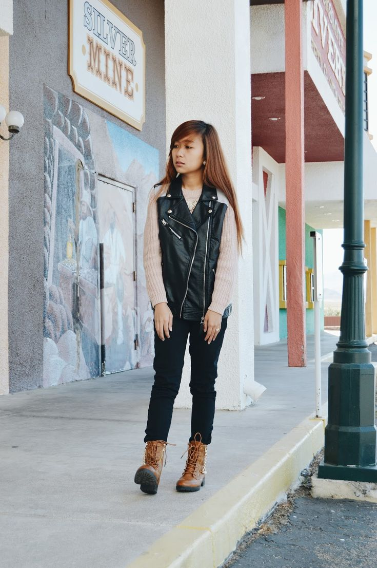 Reach for a black leather vest and black fitted pants for a Sunday lunch with friends. A pair of brown leather boots brings the dressed-down touch to the ensemble.  Shop this look for $80:  http://lookastic.com/women/looks/cropped-sweater-vest-earrings-skinny-pants-boots/7359  — Pink Knit Cropped Sweater  — Black Leather Vest  — White Earrings  — Black Skinny Pants  — Brown Leather Boots