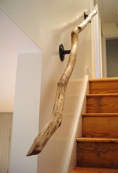 Saving on remodel or building expenses....driftwood railing / staircase twisted tree branch - interior design home decorating neutral decor