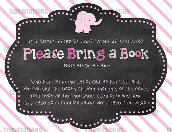 Pink And Grey Chalkboard Elephant Baby Shower Book Request Cards    PRINTABLE!