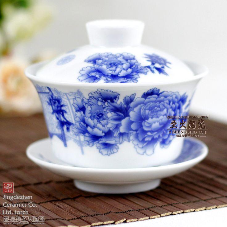 Цзиндэчжэнь керамическая кунг-фу чайный сервиз костяной фарфор супница чайный сервиз большой супница чашка синий и белый пион