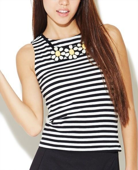 wet seal black white sailor stripe daisy crop top small tank nautical cami #WetSeal #CropTop