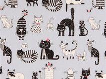 Tela oxford gris con gracioso animal gato de