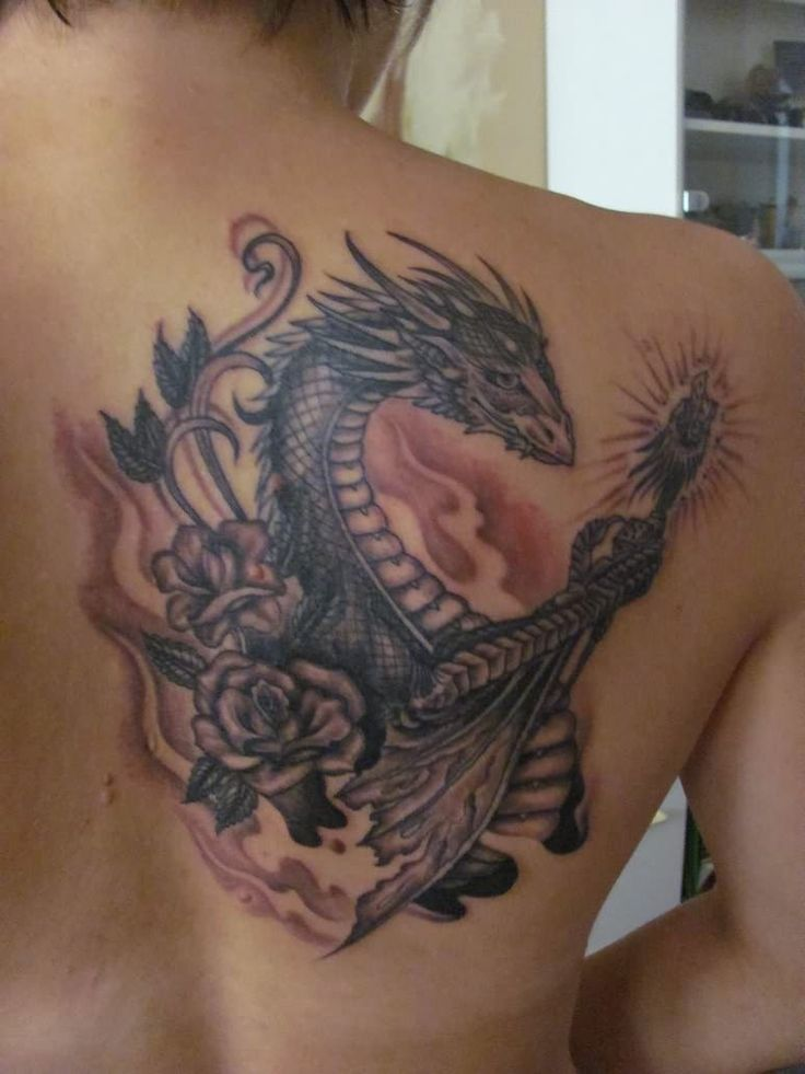43 best Rose With Dragon Tattoo Designs images on Pinterest