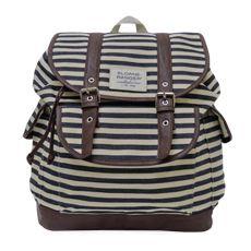 cute backpack for college - denim stripe slouch backpack.