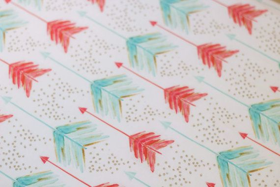 Coral and Mint arrows fitted crib sheet baby girl by NoniandV