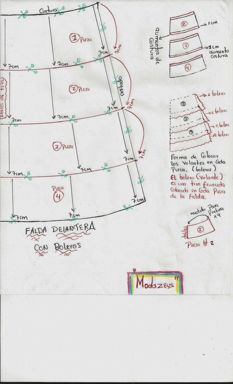 falda para niñas con volantes-boleros con pretina con elástico cortada en tejido plano #falda #niñas #moda #modazeus