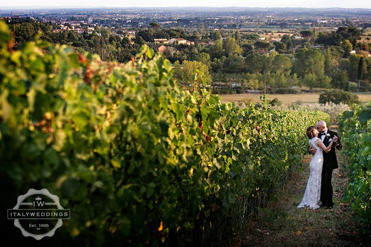 Bride and groom in the vineyards of Tuscany