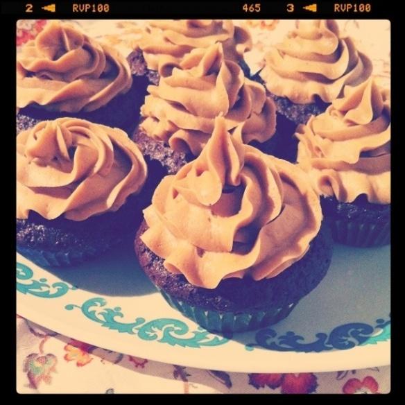 Mocha cupcake & coffee buttercream icing! Sounds delightful!