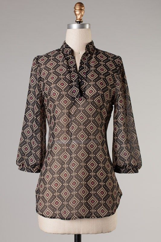 Online Clothing Boutique | Kelly Brett Boutique - Top Cuffed Pattern Black, $22.00 (http://www.kellybrettboutique.com/top-cuffed-pattern-black/)