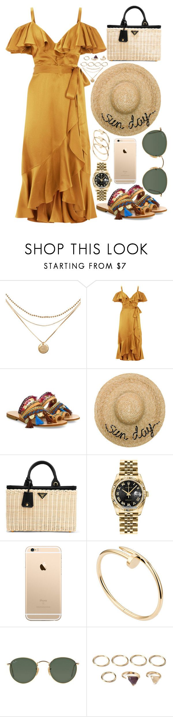 """""""inspired farmer's market outfit"""" by crisarranz on Polyvore featuring Temperley London, Elina Linardaki, Eugenia Kim, Prada, Rolex, Cartier, Ray-Ban and Forever 21"""