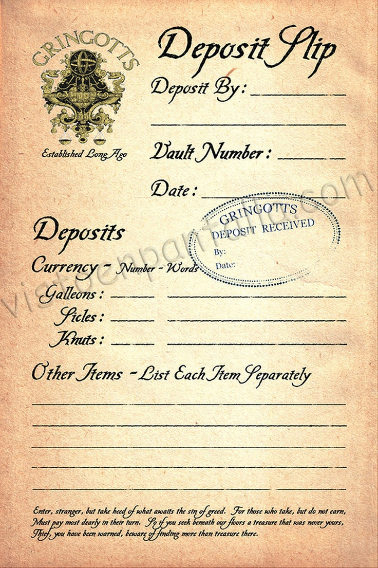 Might have already pinned this, but... Gringotts deposit slip. Thinking about doing a money unit later using Harry Potter as the basis.