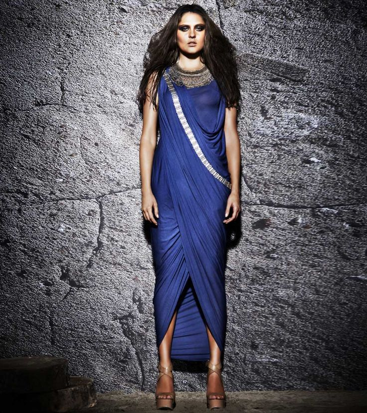 #Indigo Modal Jersey #Cowled Cross over #Hi #Low #Dress by #Urvashi #Kaur at #Indianroots